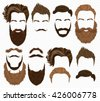 Man hair, mustache, beards collection. Hipster high detailed retro fashion elements.  - stock vector