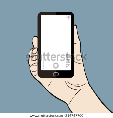 Man hand holding a smart phone with camera controls - stock vector