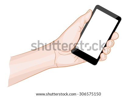 Man hand holding a smartphone with blank screen vector illustration