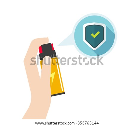 Man hand holding self-defense spray vector illustration, flat icon, self defense pepper bottle, concept of human attack technology, safety equipment, personal security, modern design isolated on white - stock vector