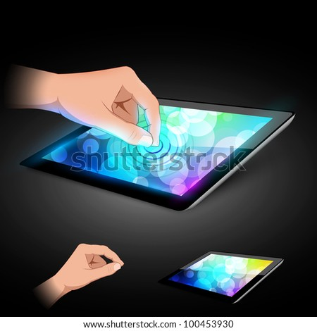 Man hand is touching tablet pc to make gesture. Variant on dark background. - stock vector