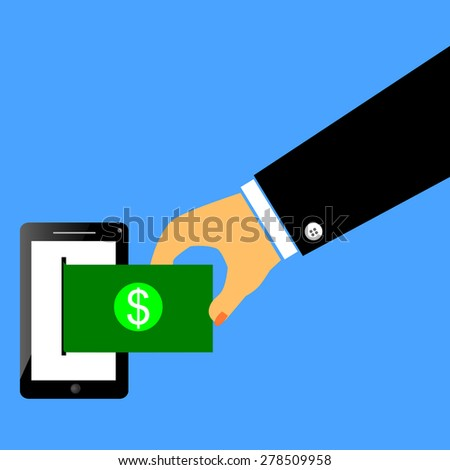 Man Hand Take a Money from Mobile Phone