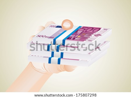 man hand with euro bills - stock vector