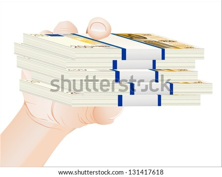man hand with euro bills over white background - stock vector