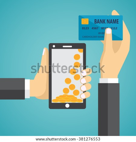 Man hands holding mobile phone and credit card. Concept of mobile payment app, payments application system, money transfer.