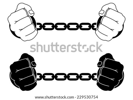 Man hands in strained steel handcuffs. Black and white illustration isolated on white - stock vector