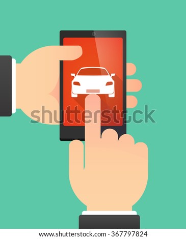 Man hands using a phone showing a car