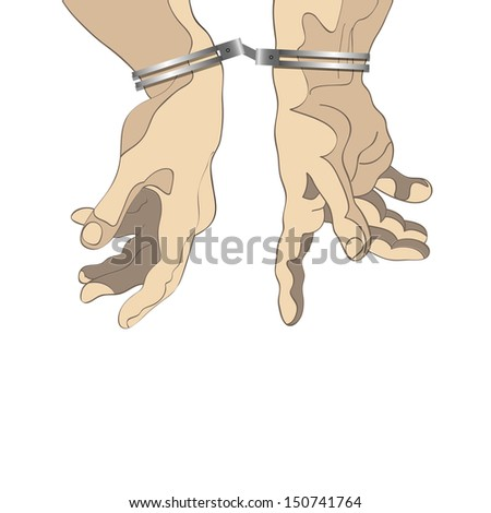 Man hands with handcuffs. Vector illustration - stock vector