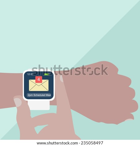 Man hands with smart watch on light blue background. Vector illustration.