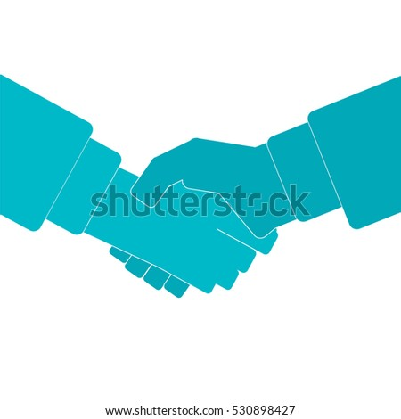 Man handshake business icon sign isolated. Vector illustration, symbol of cooperation, partnership, friendship, trust