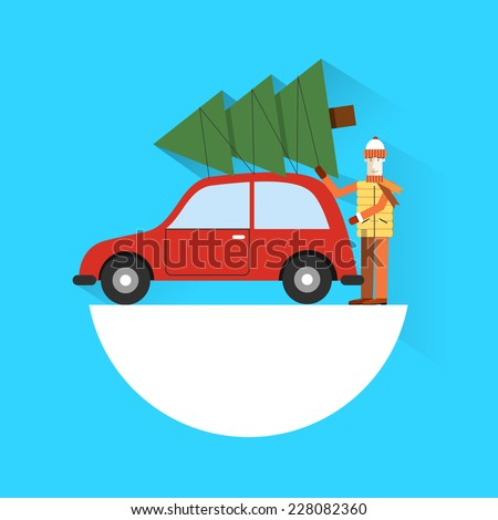 Man hauling his freshly cut Christmas tree. Christmas Bazaar illustration. A man carries a Christmas tree. Christmas eve. Modern flat style. Happy New Year. Christmas tree. Preparing for Christmas.