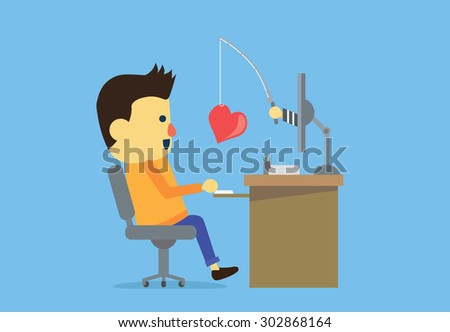 Man have been deception from internet criminals by means of make her falling in love. - stock vector