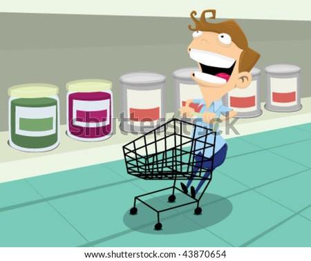 Man having fun at the supermarket. - stock vector