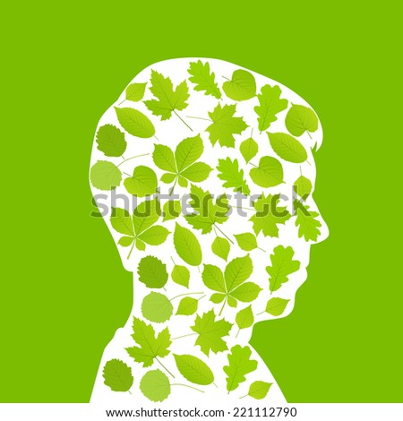 Man head made with leaves ecology vector background concept - stock vector