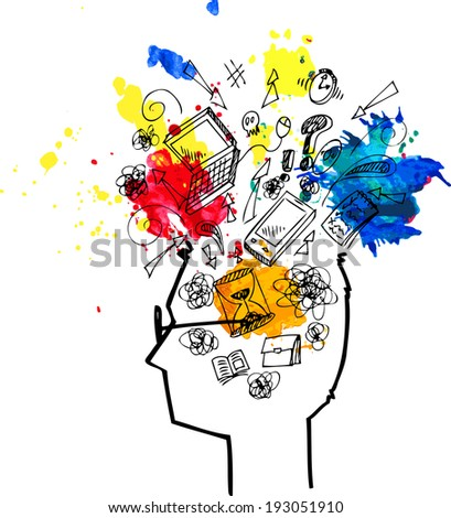 Man head profile full of confused thoughts. - stock vector