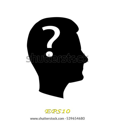 man, head, question mark icon, vector illustration EPS 10