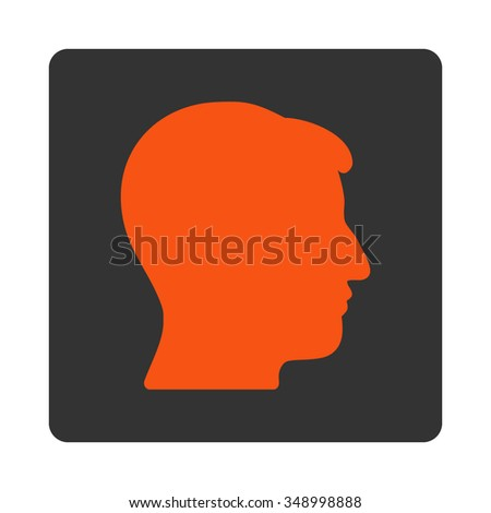 Man Head vector icon. Style is flat rounded square button, orange and gray colors, white background.