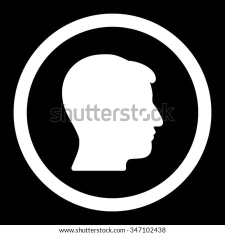 Man Head vector icon. Style is flat rounded symbol, white color, rounded angles, black background.
