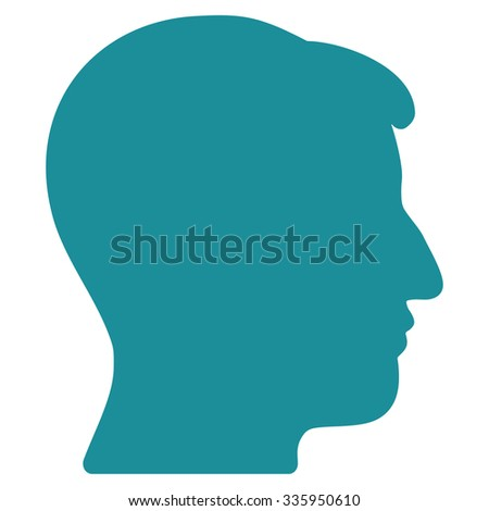 Man Head vector icon. Style is flat symbol, soft blue color, rounded angles, white background.