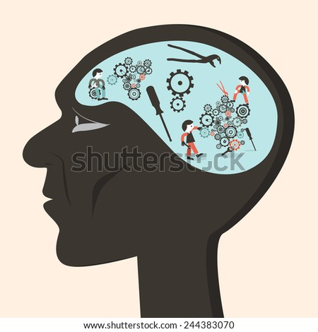 Man Head with Cogs and Workers Vector Illustration - stock vector