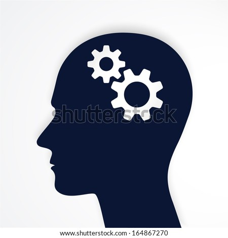 Man head with gears  Human head thinking. Vector.  - stock vector