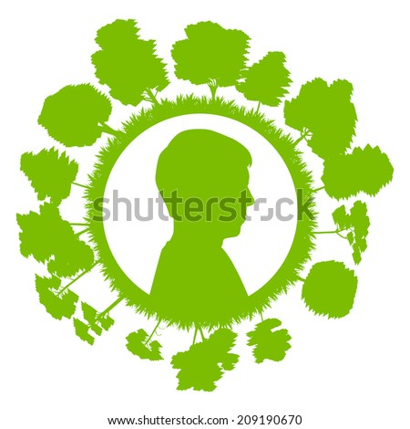 Man head with tree green ecology concept background - stock vector