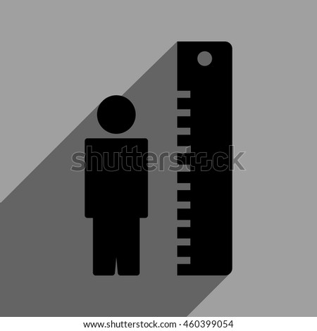 Man Height Meter long shadow vector icon. Style is a flat man height meter black iconic symbol on a gray square background with longshadow.