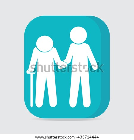 Man helps elderly patient icon, button vector illustration - stock vector