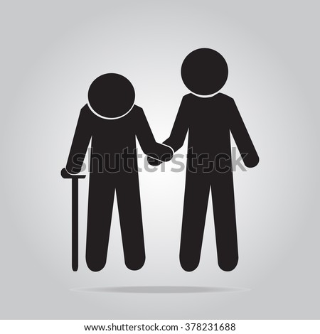 Man helps elderly patient icon illustration - stock vector