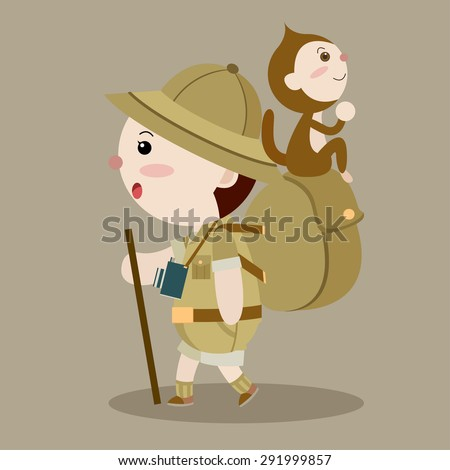 man hike with his monkey cartoon vector