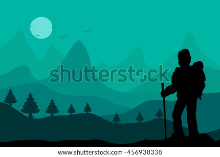Man hiker Nordic walking with poles vector background forest mountain landscape