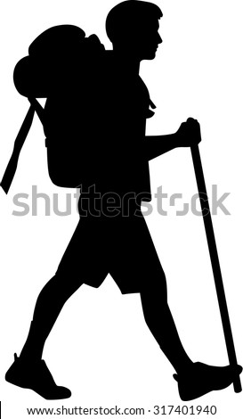 Man hiking with stick - stock vector