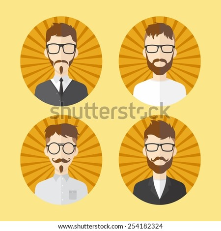 man hipster avatar user picture cartoon character set - stock vector