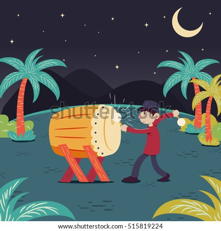 Man hitting drum celebrating ramadhan