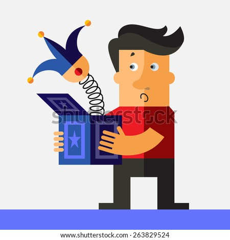 Man hold a jack in the box toy, springing out of a box. Business flat vector illustration. - stock vector
