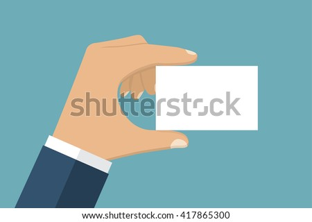 Man holding a blank card in his hand. Credit card, ID card. It can be used as a template for a credit card, identity card, place for text. Flat style vector. - stock vector