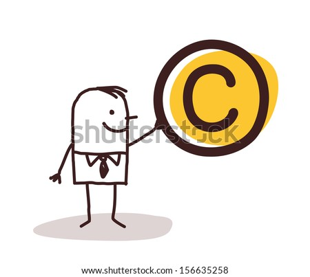 Man Holding a Copyright Symbol - stock vector