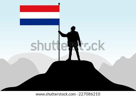 man holding a flag of holland, vector  - stock vector
