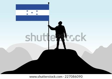 man holding a flag of honduras, vector  - stock vector