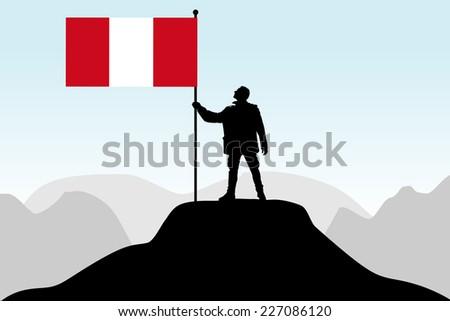 man holding a flag of peru, vector  - stock vector