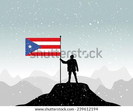 man holding a flag of puerto rico  - stock vector