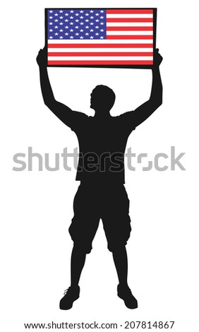 man holding a flag of USA, vector