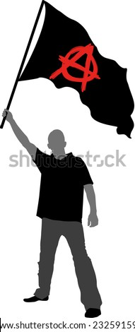 man holding a flag with anarchy symbol - stock vector
