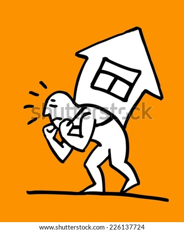 Man holding a house on his back. Conceptual illustration of a business man carrying the costs of a whole house, or insurance company concept supporting your home  - stock vector