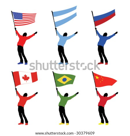 man holding a national flag, vector illustration - stock vector