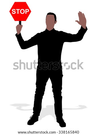 Man holding a traffic sign stop, vector - stock vector