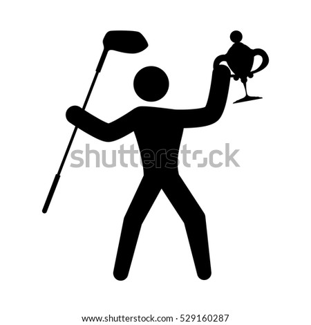 man holding a trophy and golf stick icon over white background. vector illustration