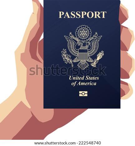 Man holding an American Passport PP Vector illustration cartoon. - stock vector