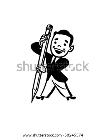 Man Holding Big Pencil - Retro Clip Art - stock vector
