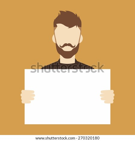 man holding blank sign - stock vector